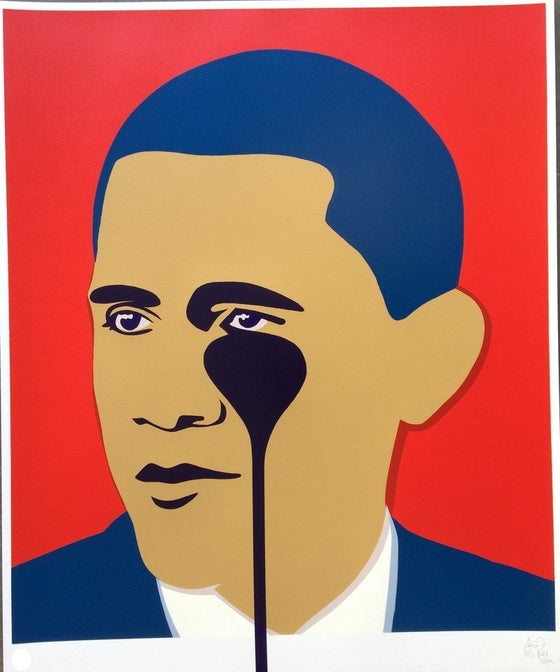 "Image of PURE EVIL ""CRYING OBAMA"" - RED LTD ED 100 - 70CM X 85CM"