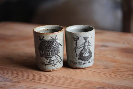 Image of Baba yaga ceramic egg cups