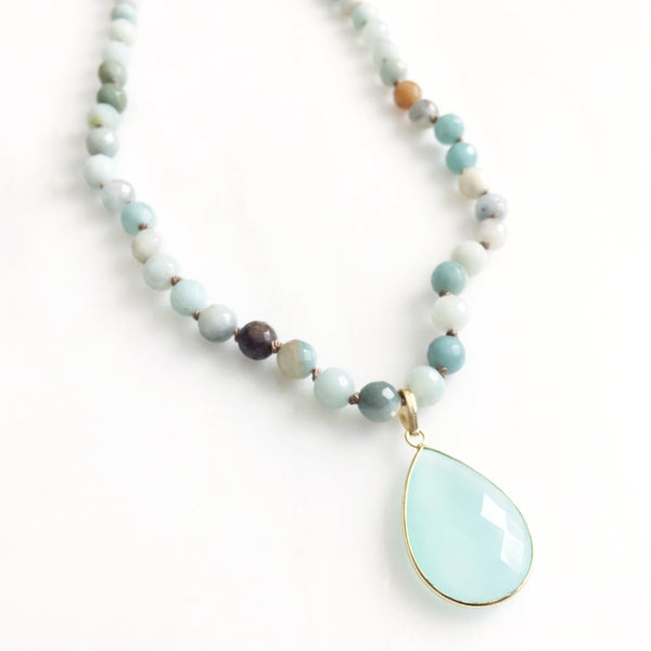 Image of TenThings. COVE. Amazonite with Aqua Chalcedony. Necklace. N-8AMCOVE