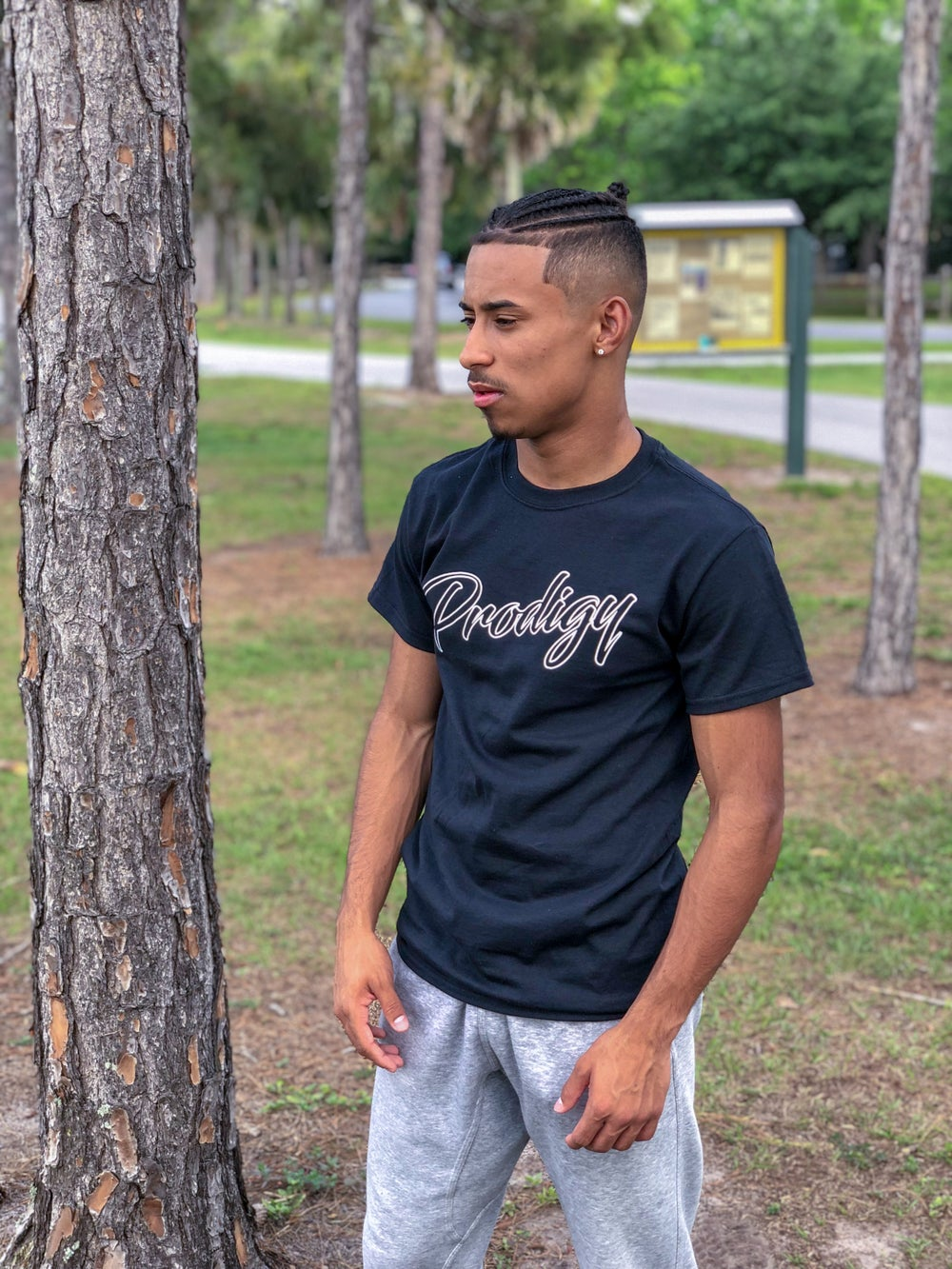 New Prodigy Black T shirt with white ink