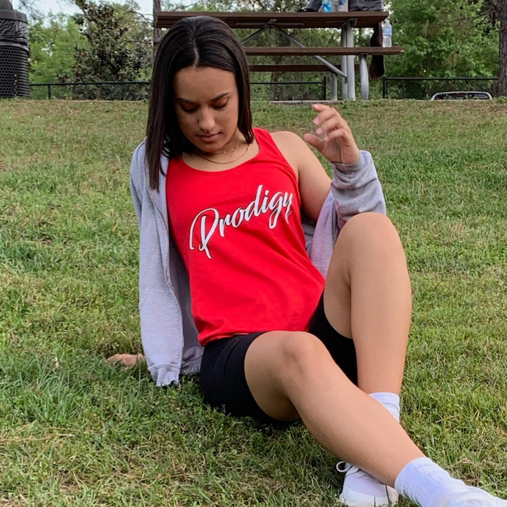 New Prodigy Women's Red Tank with White Script with black outline