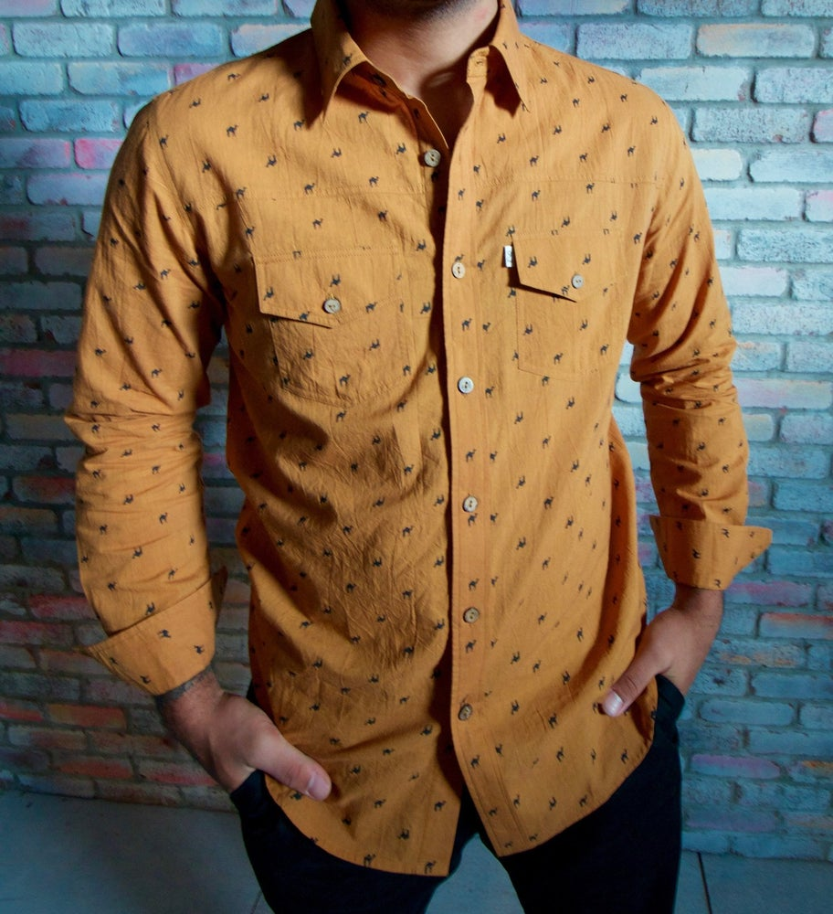 Image of Long Sleeve Pushkar Camel Button Down - Gold