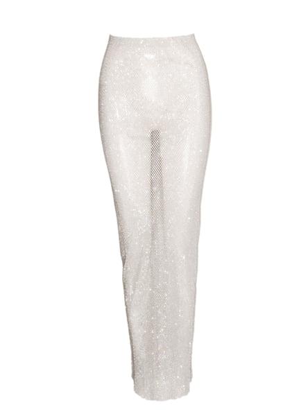 Image of White Crystal Net Skirt