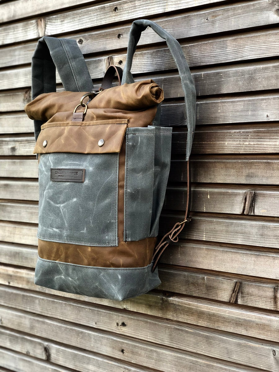 Image of waxed canvas backpack / medium size backpack / waterproof backpack with padded shoulder straps and w