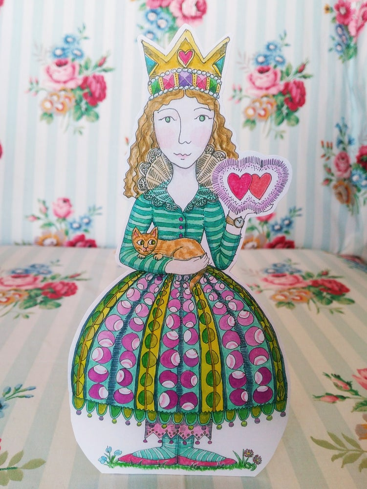Image of Amelia with Twin Hearts and Cat Greetings Card