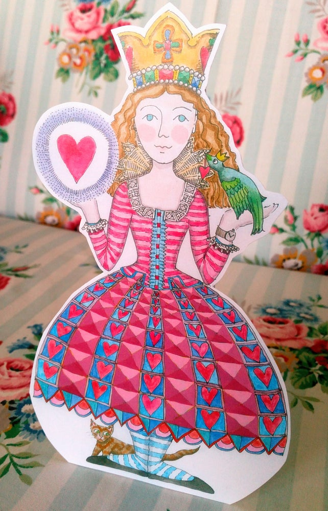 Image of Sophia with Bird and Heart Greetings Card