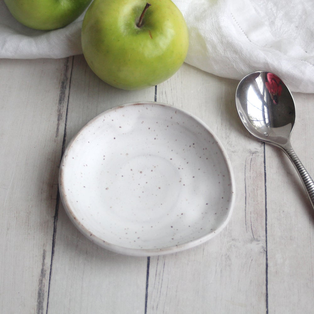 Image of Spoon Rest in Matte White and Speckled Stoneware, Coffee Station Dish, Made in USA