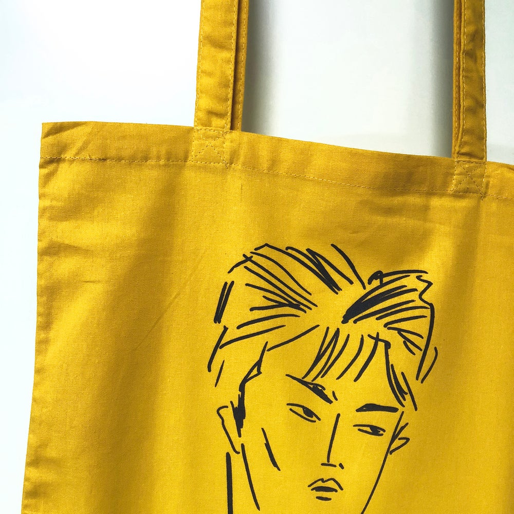 Image of BUNNY BISSOUX - BOY - TOTE BAG - YELLOW / LIGHT YELLOW