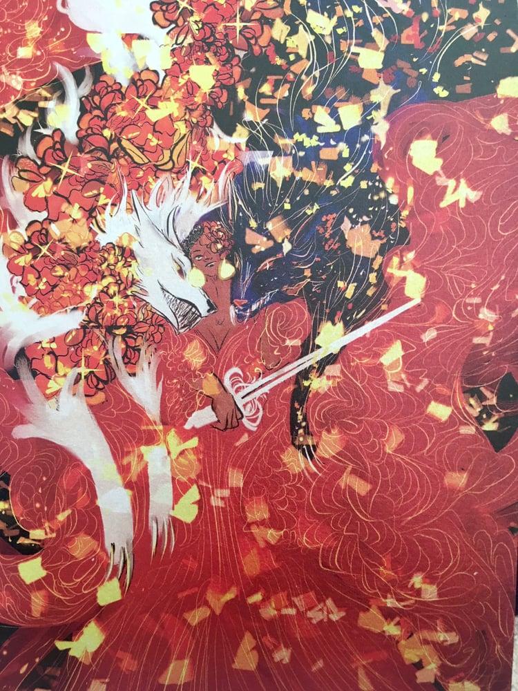 Image of wolf knight metallic print
