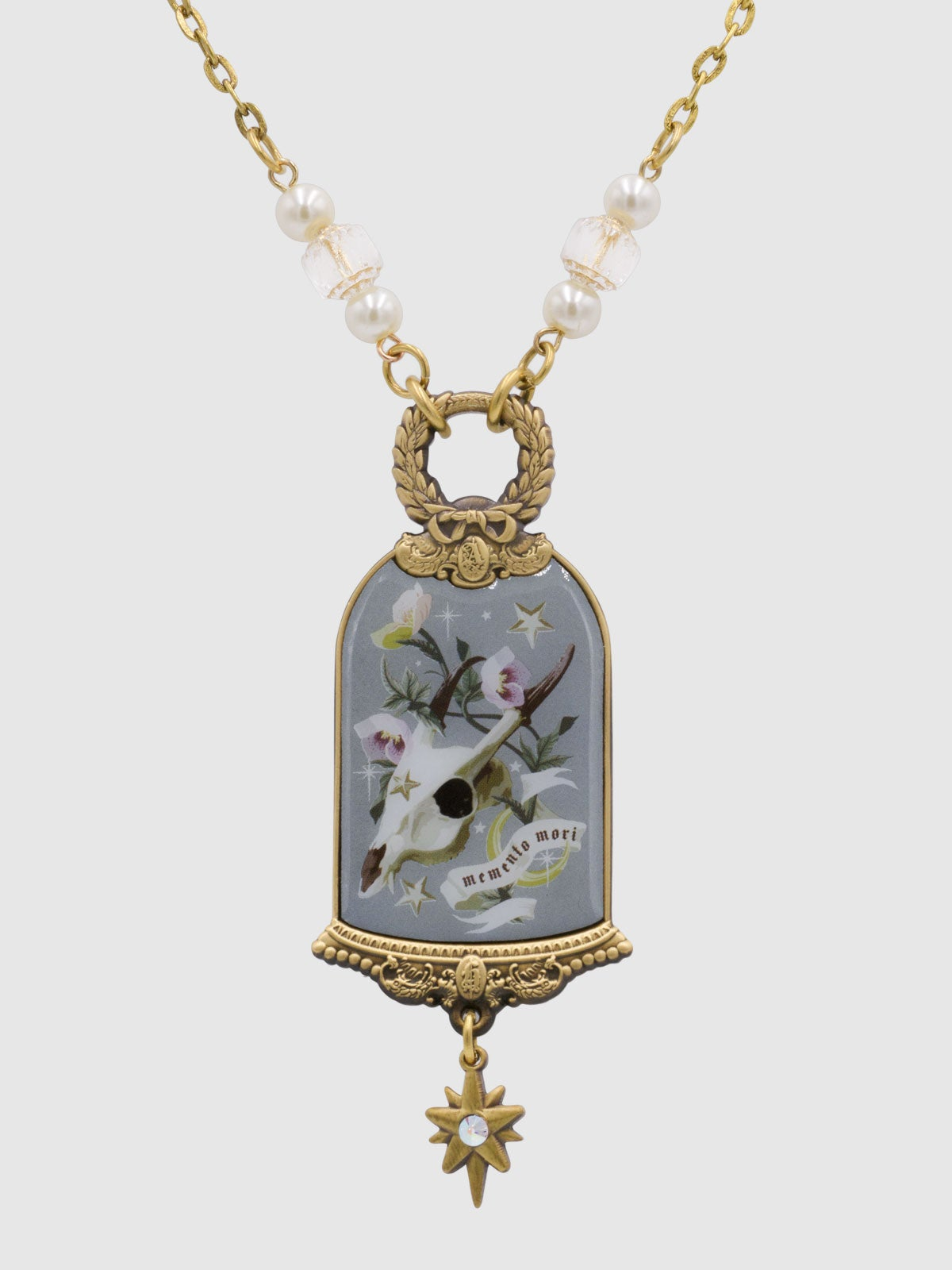 Image of PRE-ORDER Memento Mori Necklace • Gray Blue
