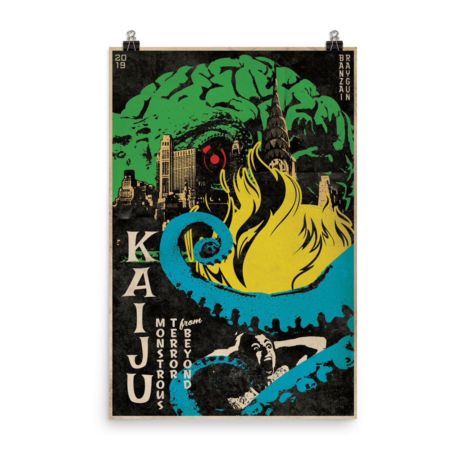 "Image of 24""x36"" Kaiju Movie Poster"