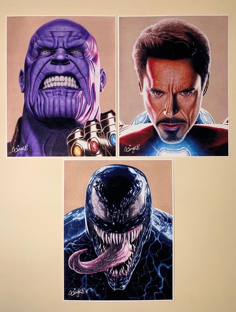 "Image of ""3 Piece"" (Thanos, Venom & Iron Man Prints)"