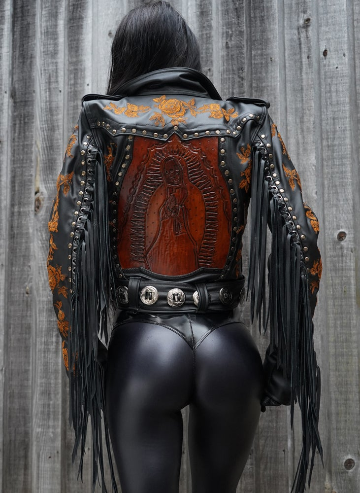 Image of TOXIC VISION Santa Muerte fringed biker jacket