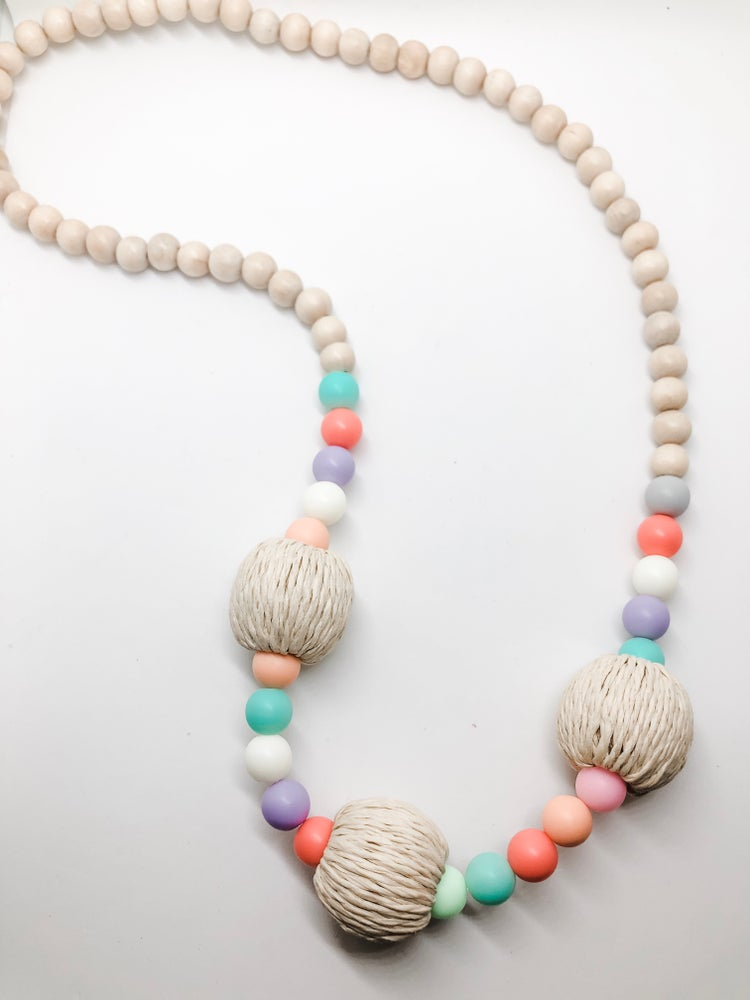 Image of Girls Rattan Beaded Necklace