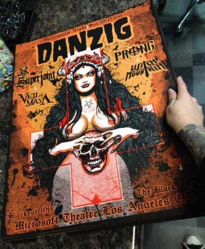 Image of Danzig silkscreen poster from halloween show - limited to 138 signed and numbered