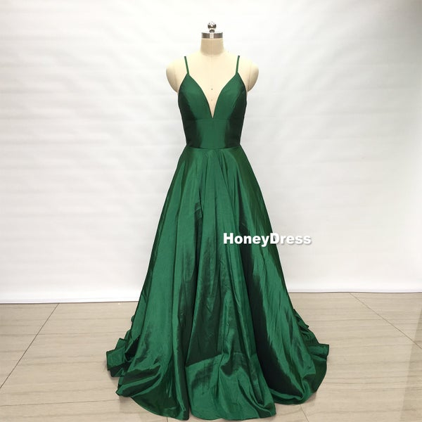 Image of Green V-Neck Satin Spaghetti Straps A-Line Long Prom Dress, Ball Gown With Pockets