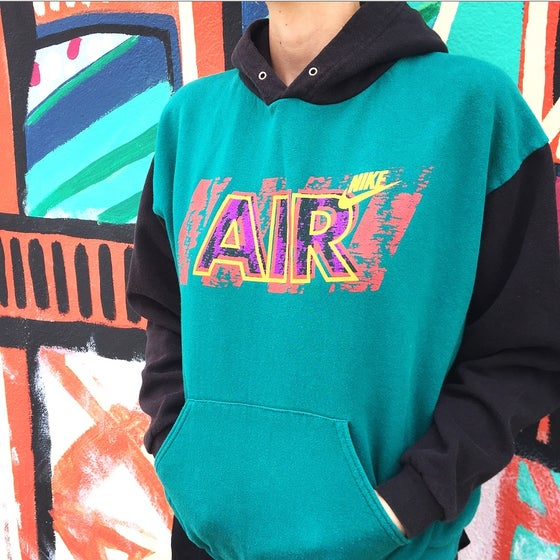 Image of Vintage 1990's Nike Air Colorblock Hoodie Sz.L (Youth)