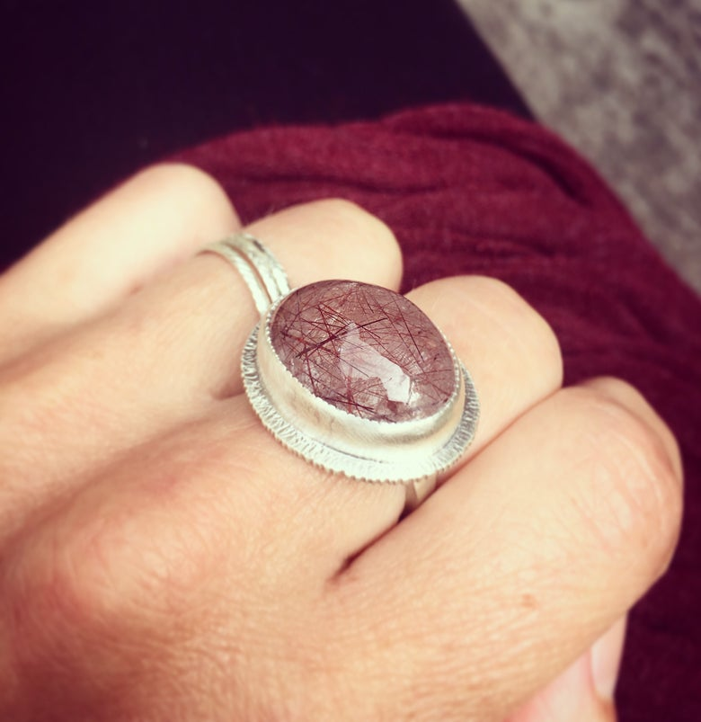 Image of red rutilated quartz ring