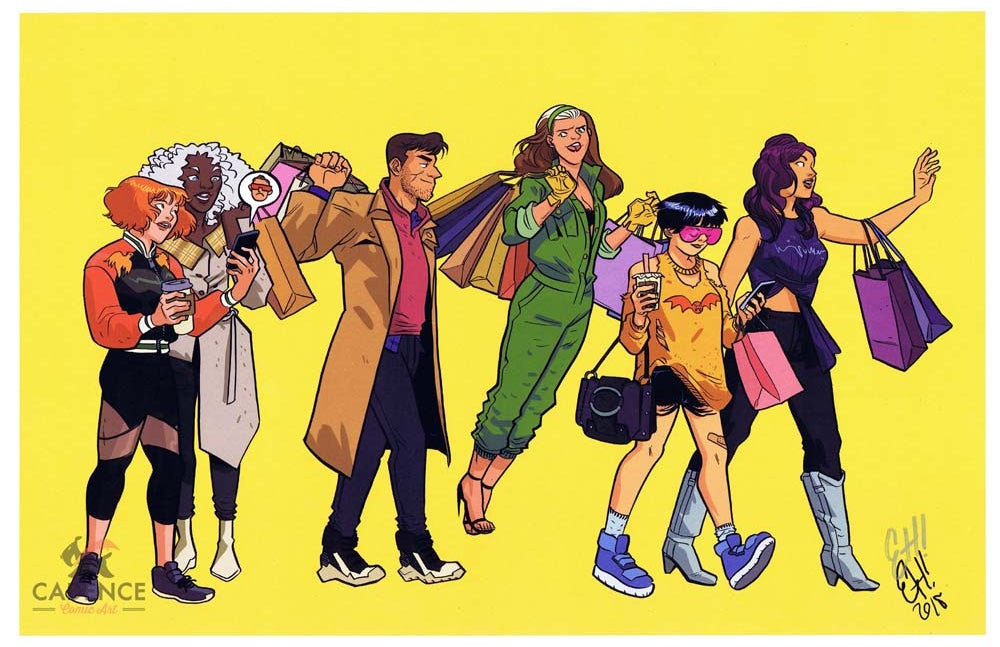 Image of DELETED X-MEN MALL SCENE Print by Erica Henderson (Signed)