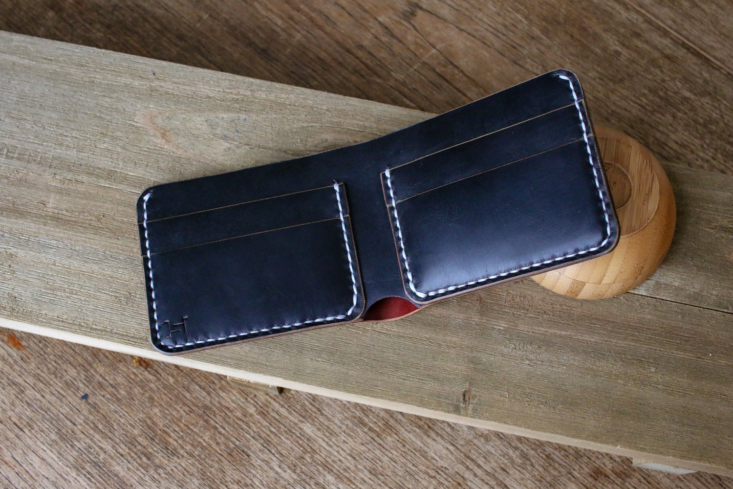 Image of Reverse Garnet Shell Cordovan Traditional Bifold