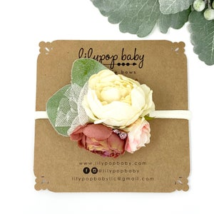 Image of Rose/Creme Flower Crown Headband (Ready to Ship)