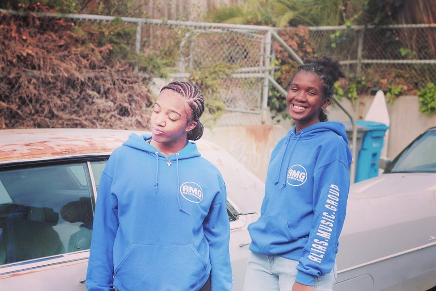 Image of Amg records blue hoodies