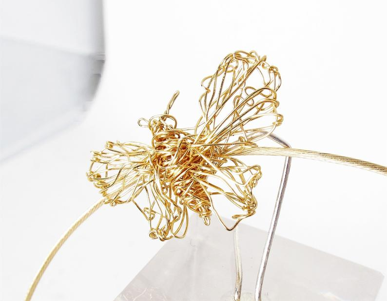 Image of 14k Gold butterfly necklace - wire insect art jewelry