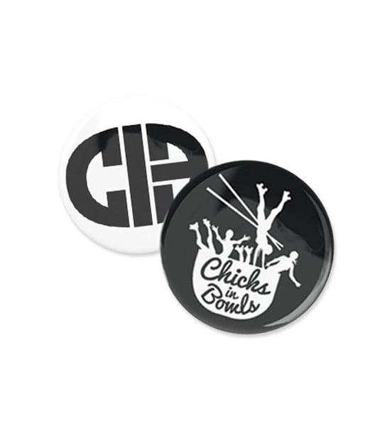Image of Chicks In Bowls Pin Badge Set