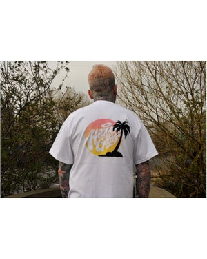 Image of Heavy Goods Sunset Logo T-Shirt - White