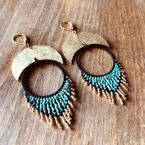 Image of Moon + Sun turquoise Picasso earrings