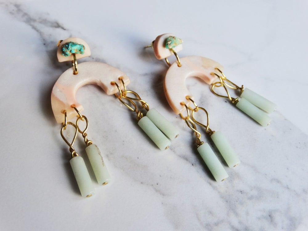 Image of marbled clay + turquoise + aquamarine Tassels