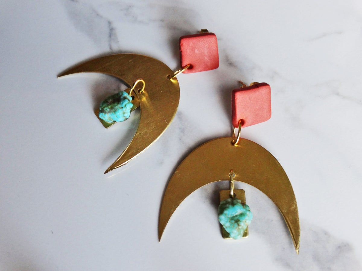 Image of terracotta clay + brass + turquoise