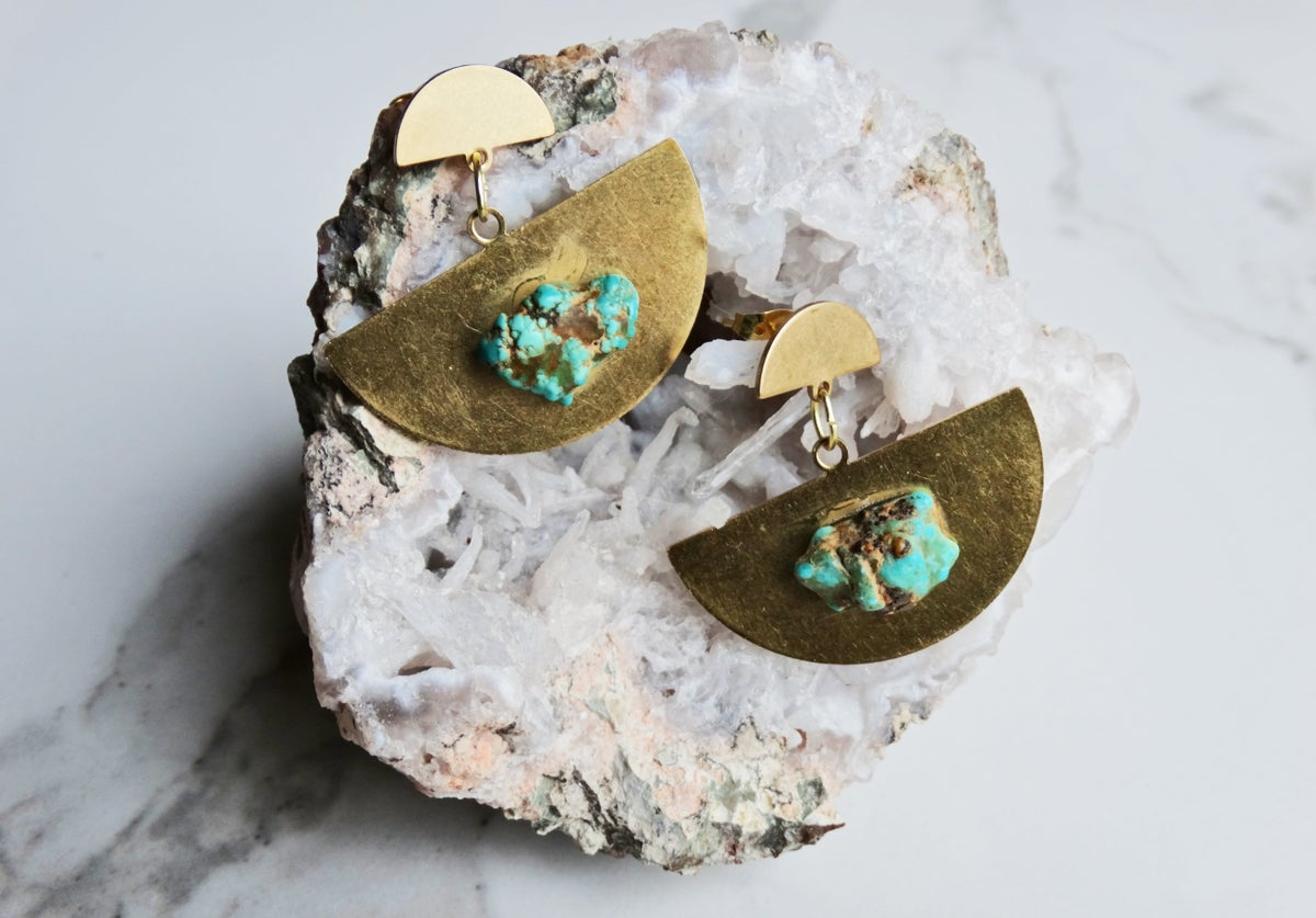 Image of brass half moons + turquoise
