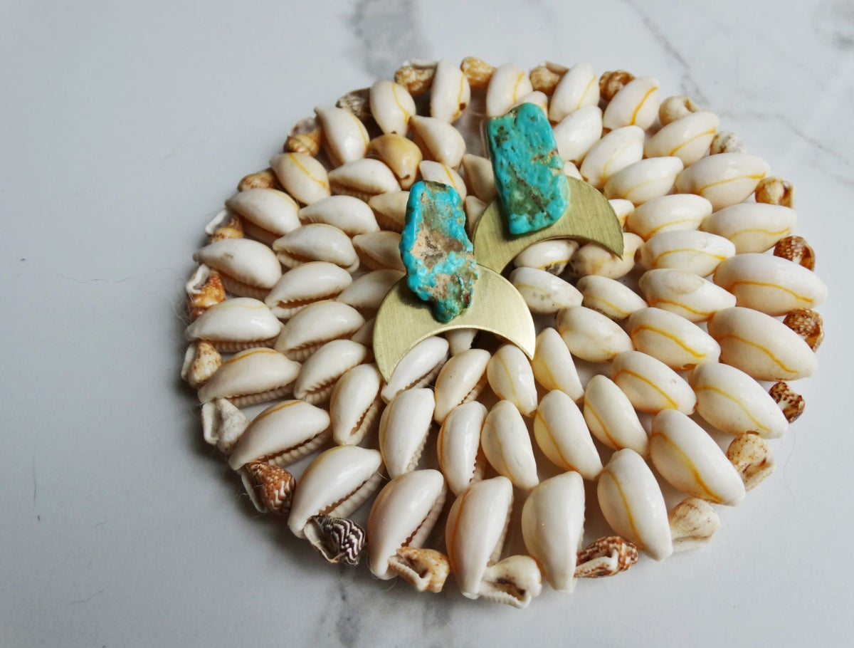 Image of brass moons + turquoise