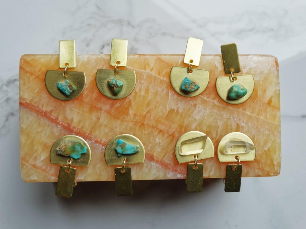 Image of Mini brass half moons + stone