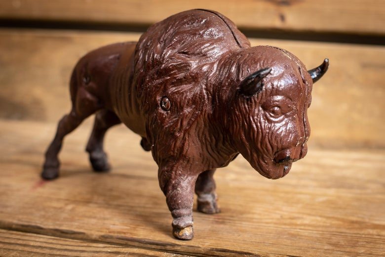 Image of Vintage Cast Iron Bison Bank