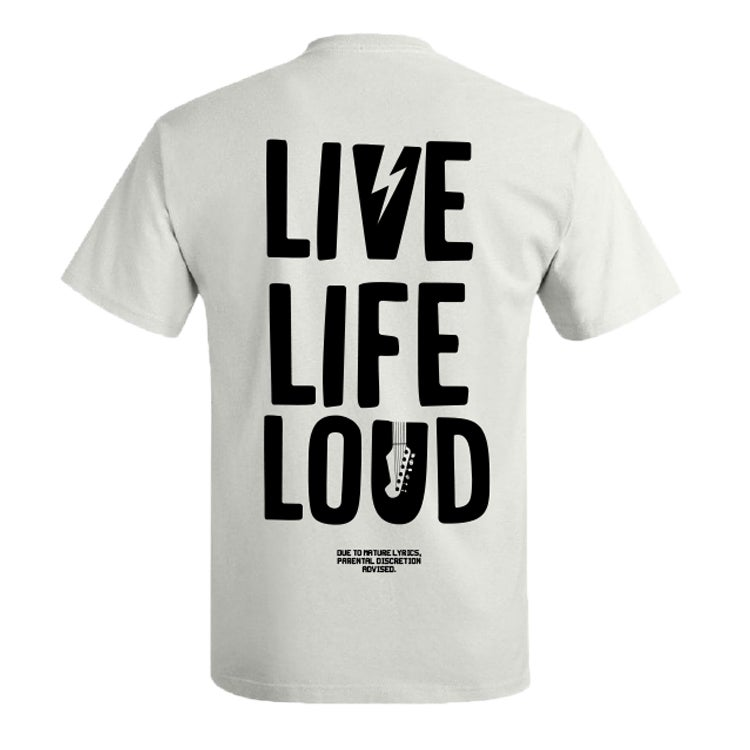 "Image of MMMH ""LIVE LIFE LOUD TEE"" Festival tee (WHITE)"