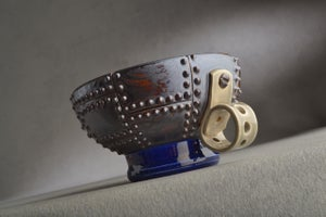Image of Shaving Bowl Made To Order Rust Brown Sheet Metal No Recess Thumb Handle by Symmetrical Pottery