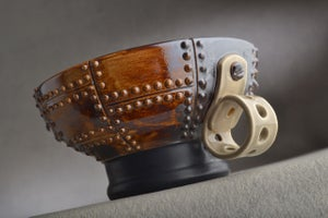 Image of Shaving Bowl Made To Order Rust Brown Sheet Metal Soap Recess Thumb Handle by Symmetrical Pottery