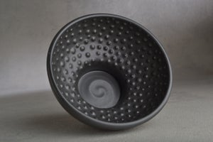 Image of Dottie Shaving Bowl Made To Order Satin Black Soap Puck Recess by Symmetrical Pottery