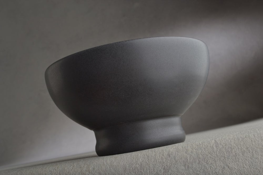 Image of Dottie Shaving Bowl Made To Order Satin Black No Recess by Symmetrical Pottery