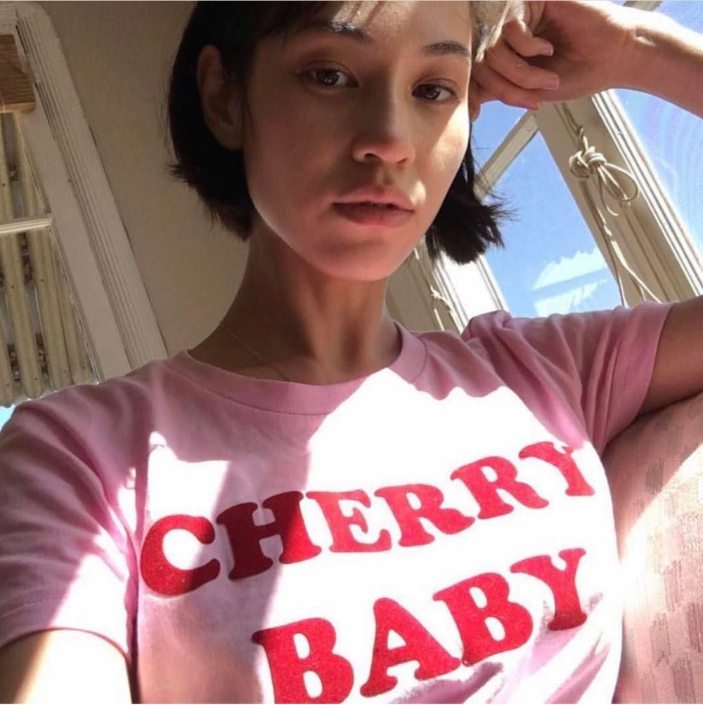 Image of BACK IN STOCK CHERRY BABY TEE - BABY PINK