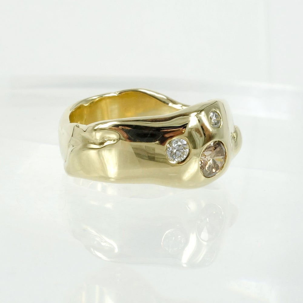 Image of 9ct yellow gold organic gypsy set band