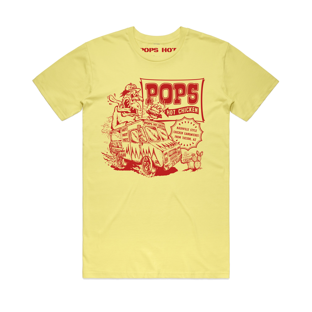 """Image of """"POP'S HOT CHICKEN"""" - Red on Yellow Unisex Shirt"""