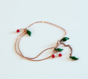 Image of Bracelet Micro Cerises - Doré Or Rose