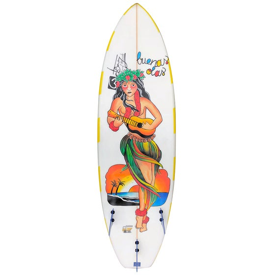 Image of Hand painted hawaiian hula girl buenas olas surfboard