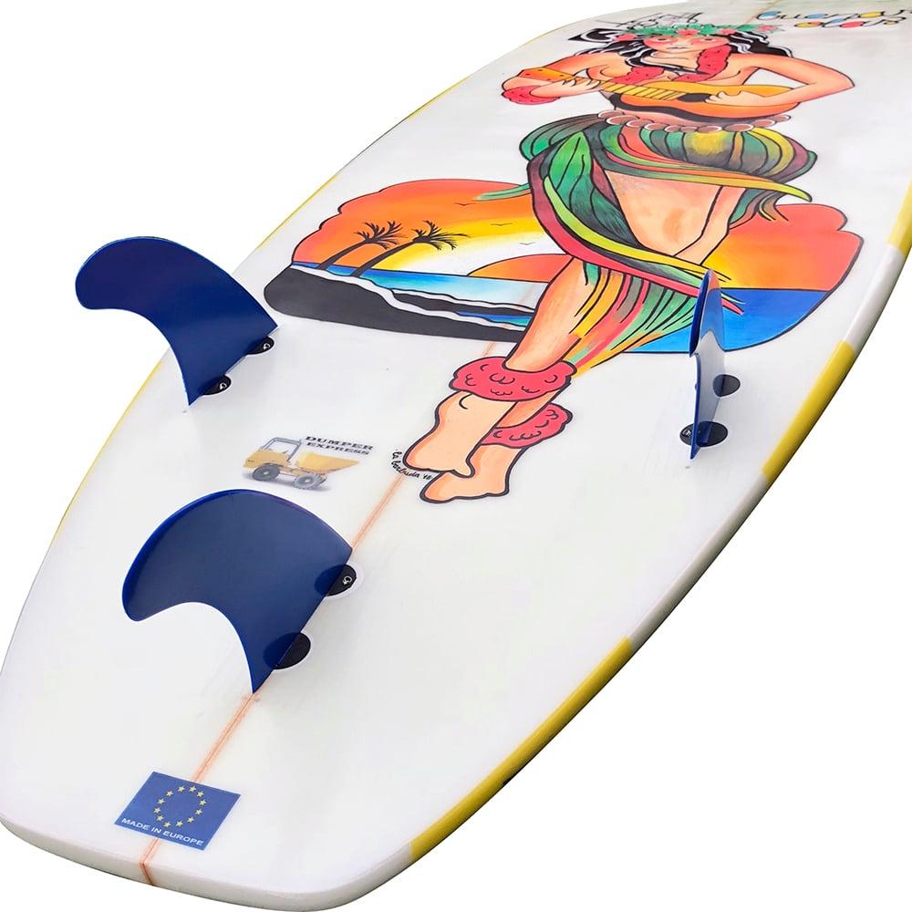 Image of Hand painted hawaiian hula girl buenas olas surfboard