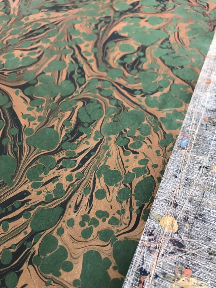 Image of Marbled paper - Special Metallics - Copper on green