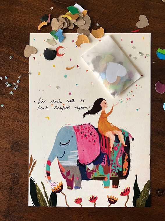 postkarte + konfetti ♡
