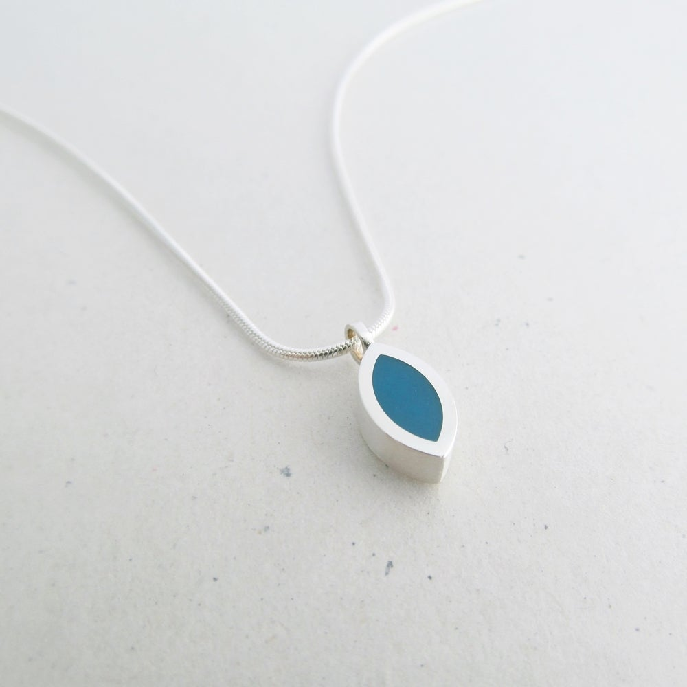 Image of Tiny Silver Leaf Pendant in Petrol Blue